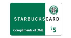 Starbucks, Starbucks Card, DME, $5