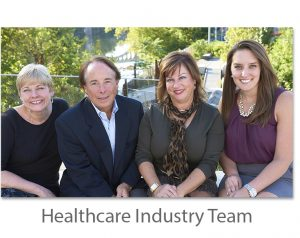 healthcare industry team, group of people, trees, marketing firm